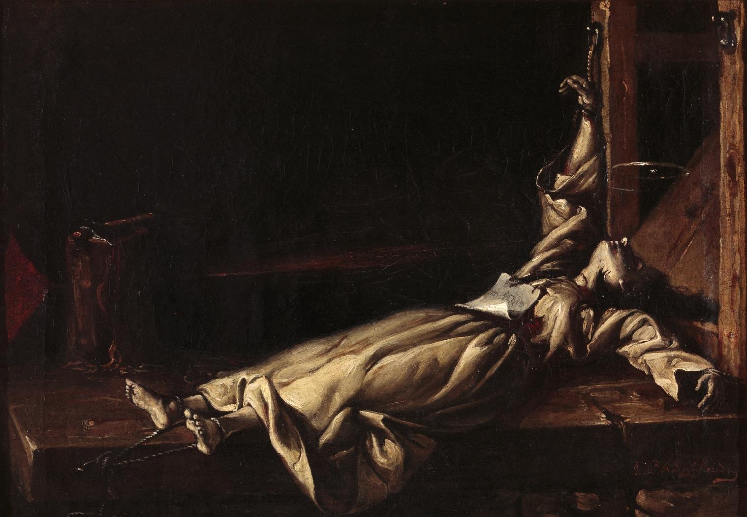 Víctima del tormento del potro. Autor desconocido. Óleo sobre lienzo. 1870