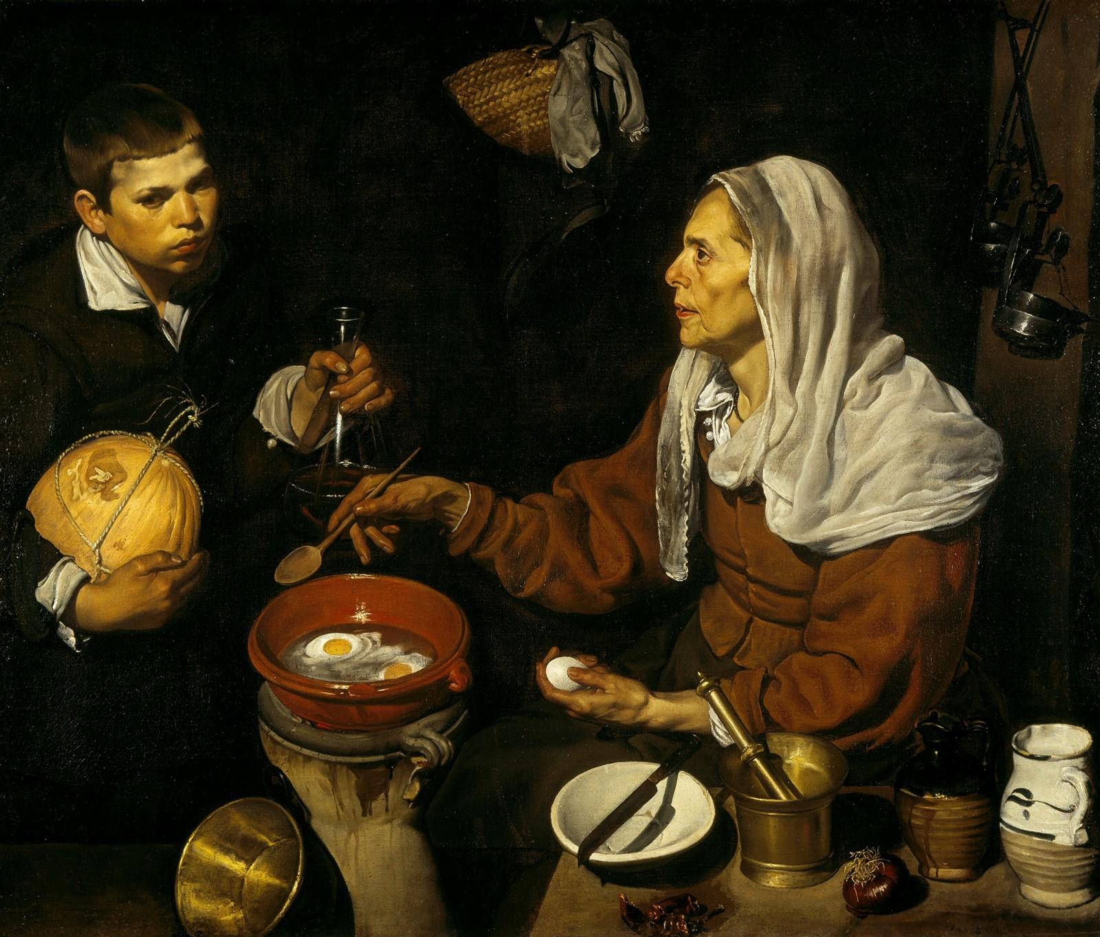 Vieja friendo huevos. Diego Velázquez, Óleo sobre lienzo. 1618