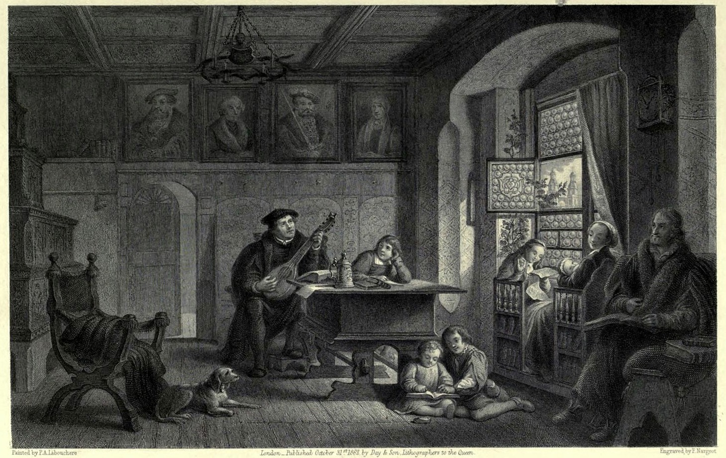 Vida doméstica de Lutero. Illustrations of the life of Martin Luther. 1862, Pierre Antoine Labouchère