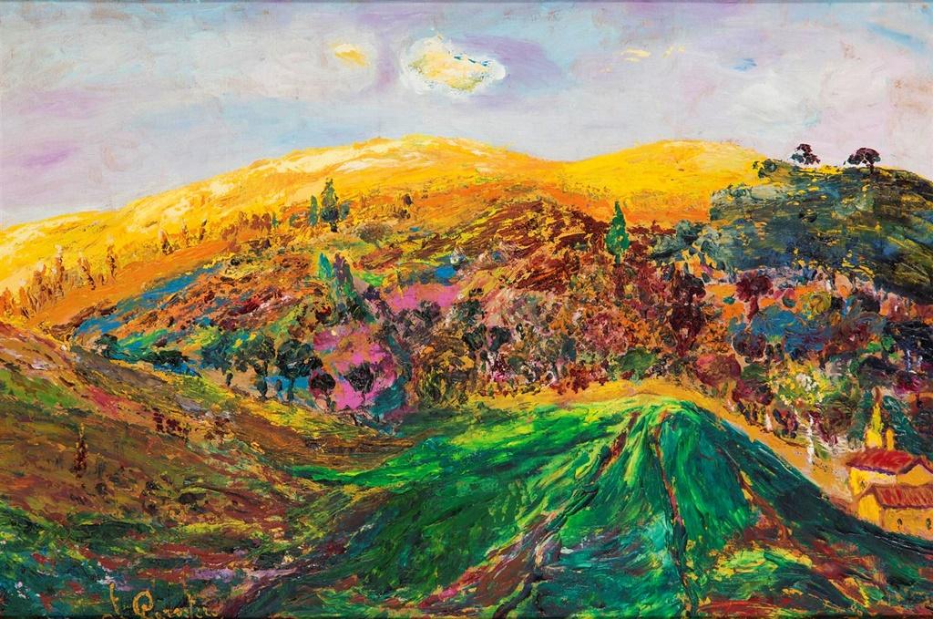 Paisaje de La Mancha. Francisco Carretero. Óleo sobre tabla. 1940