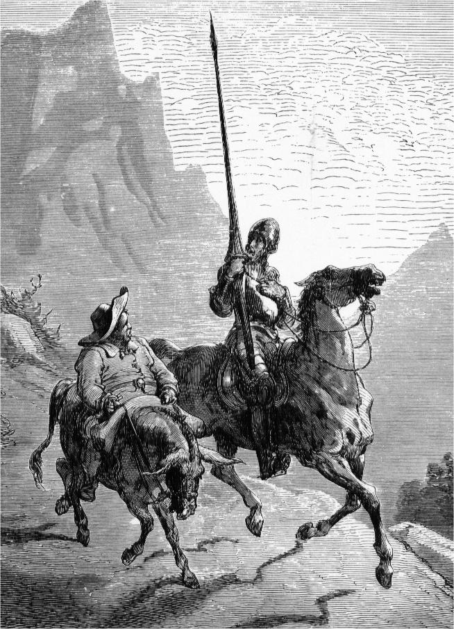 Don Quijote de La Mancha y Sancho Panza. Obra de Gustave Doré. 1863