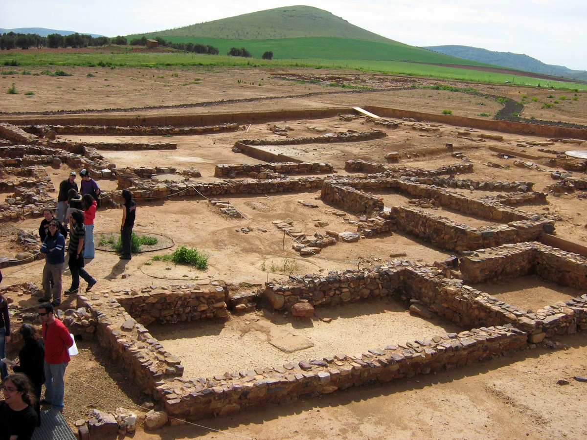 Parte central del yacimiento Oreto Zuqueca. Al fondo, el Cerro de los Obispos